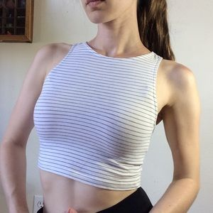 H&M Tops - Grey White Striped Crop Top Divided H&M